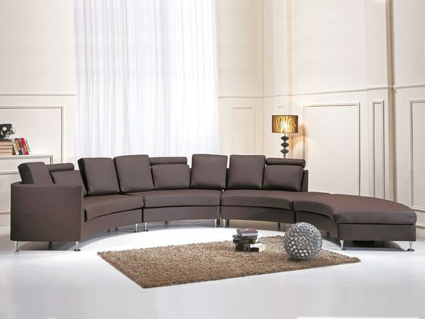 Sofa Leder braun rund ROTUNDE