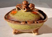 Nostalgische Keramik-Schale mit Deckel ca