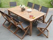 Gartenstuhl Holz Textilbespannung dunkelgrau 2er