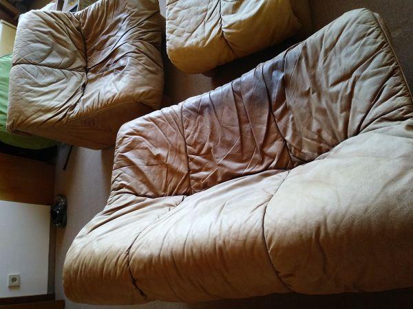 Braunes Leder Sofa Couch Garnitur Polstermöbel Sessel In München