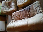 Braunes Leder Sofa Couch - Garnitur