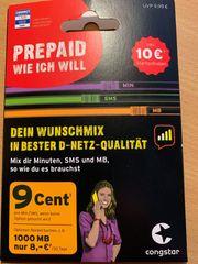 Congstar Prepaid Sim Karte DE