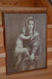 Druck antik Madonna mit Kind