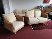 Hochwertige Sofa Garnitur Korbsessel creme