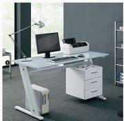 PC Schreibtisch Parana mit Weißglasplatte