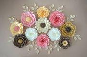 Papierblumen Paper Flower Dekoration Wanddeko