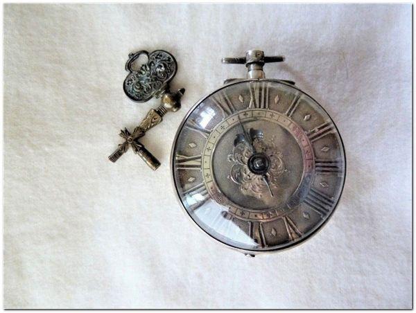 Terroux, Genf Oignon um 1690 Spindeluhr Spindeltaschenuhr Verge watch Montre coq