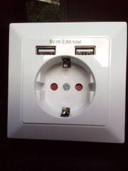 Steckdose mit zwei USB-Ports NEU