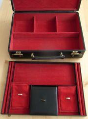 Schmuckkoffer schwarzes Leder roter Samt
