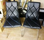 2 Stühle schwarz Kunstleder Küchenstuh