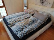 weißes echtleder Bett inkl lattenrost