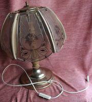 Tischlampe mit Deko-Glasscheiben Rosenblüte