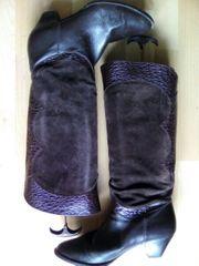 Raffiniert elegante Leder Wildlederstiefel Gr