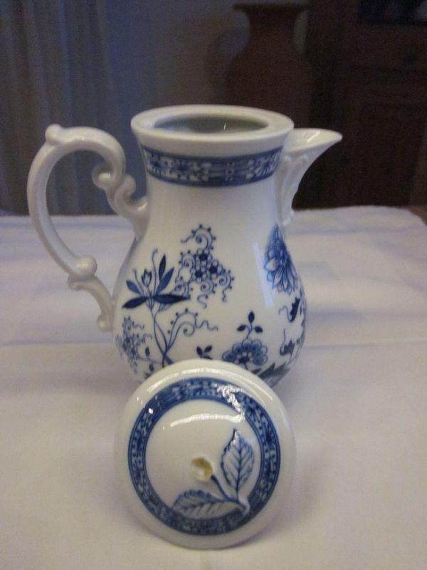 Hutschenreuther Kaffeekanne Zwieblmuster kobaltblau