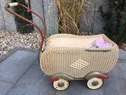 Puppenwagen aus Korb - 50iger Jahre