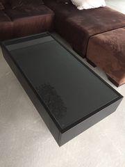 Coachtisch Glasholztisch mit zwei Schubladen