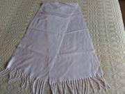 Vintage - Schal Fransenschal glatt weiß