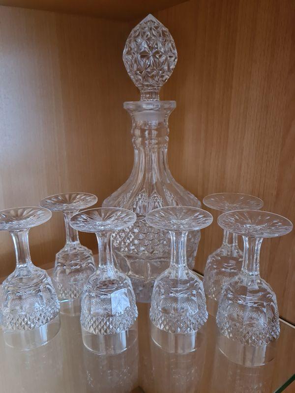Sherry Set 7-teilig, Karaffe mit 6 Gläsern, Böhmisches Kristallglas