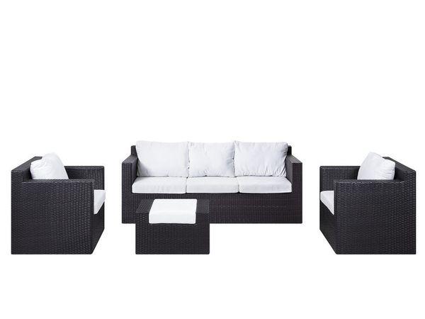Lounge Set Rattan dunkelbraun ROMA