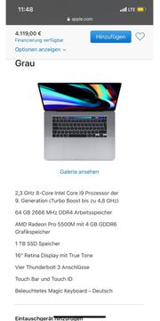 Macbook Pro 16 2020 1TB