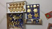15 Weihnachtskugeln gold Baumanhänger Schleifen