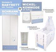 Babybett Wickelkommode Kleiderschrank-Herzen Blau NEU