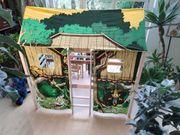Kinderbett Hochbett Zeltdach Jungle Massivholz