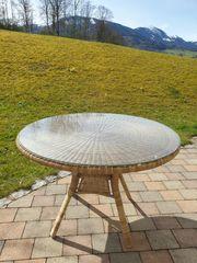 Gartentisch Rattan rund mit Glasplatte