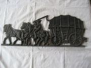 großes Metallbild Pferde mit Kutsche