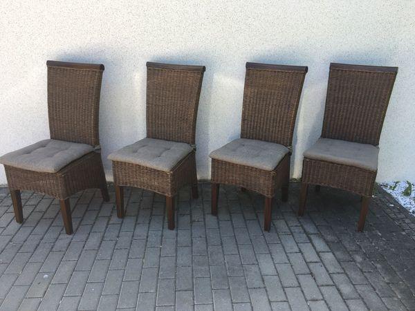 4 Rattan Stühle Kolonialstil Küchenstuhl Esstischstühle