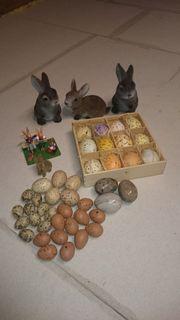 Osterdekoration wie Eier Hasen teils