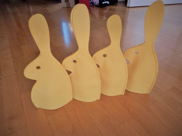 4 Eierwärmer Hasen gelb Filz