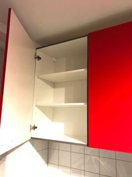 Küchenzeilen, Anbauküchen - Küche Hochglanz u Form rot