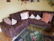 Couch U-förmig Samt Velours braun