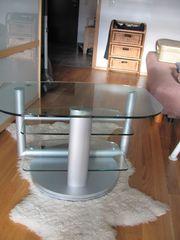 TV Tisch Glas-Silber