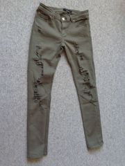 Hose Stretch-Skinny-Jeans Gr 40 khakifarben