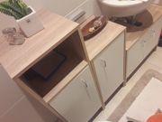 3tlg Bademöbel Set Badezimmermöbel Waschbeckenunterschrank