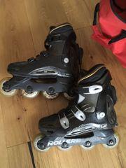 Tasche und Gele Inline-Skates Inliner Gr.43 Rollerblade schwarz leichte Abnutzungsspuren incl