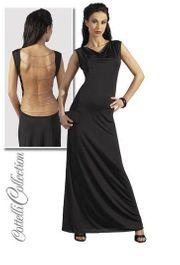 Damen Kleid lang rückenfrei schwarz