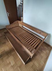 Möbelum Vollholzbett mit großer Schublade