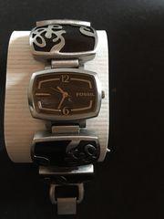 Fossil Damenuhr Holz-Edelstahl Armband