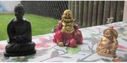 3 Budda goldfarben rot goldfarben