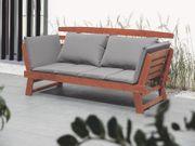 Gartensofa Holz dunkelbraun verstellbare Armlehnen