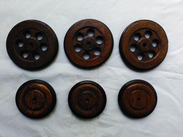 Holzräder 6 stück mit gummibereifung für puppenwagen stubenwagen