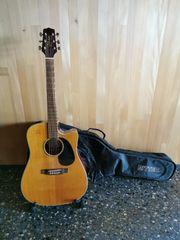 Westerngitarre mit Tonabnehmer inkl Tasche
