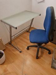 Schreibtisch Glasschreibtisch mit Schreibtischstuhl