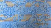 Polsterstoff Dekostoff blau-gold-gemustert sehr strapazierfähig
