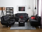 2-Sitzer Sofa Kunstleder schwarz LEIRA neu