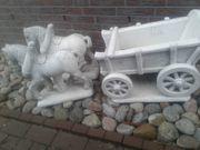 Gartenputte Steinfigur 2 Pferde mit