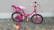 Kinderfahrrad 16 Zoll pink Stützen
